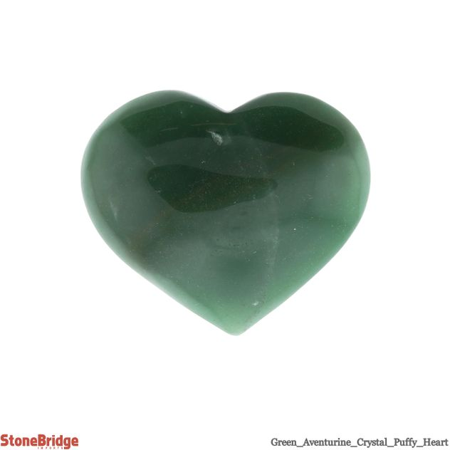 "Green Aventurine Puffy Heart - Size #5 - 2"" to 3"""