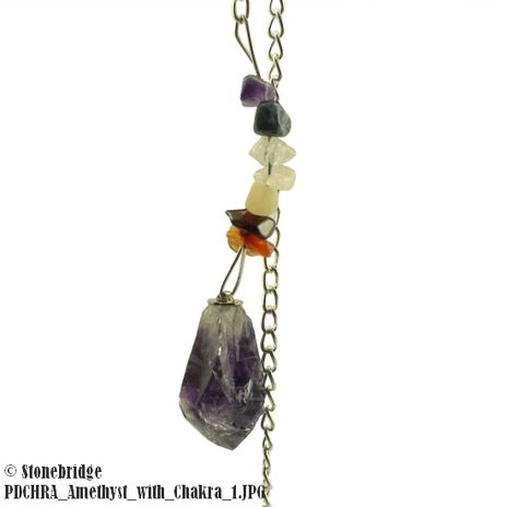 Amethyst natural point with chakra chips Pendulum