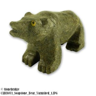 Bear Soapstone Carving Varnished