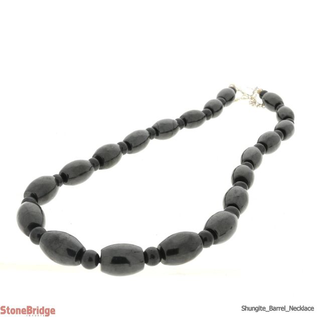 Necklace Shungite - Barrel Bead - 10mm