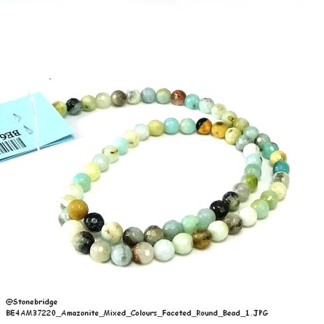 """Amazonite Mixed Colours Faceted - Round Bead 15"""" strand - 8mm"""