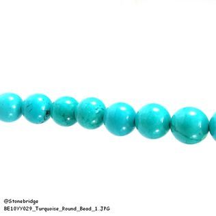 "Turquoise - Round Bead 7"" strand - 12mm"