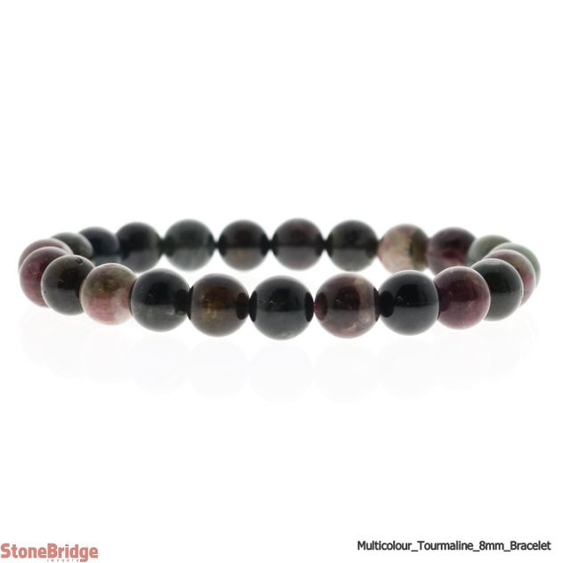 Tourmaline Multi Colour Round Bead Stretch Bracelet