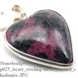 Rhodonite Heart with Silver All Around - Silver Pendant