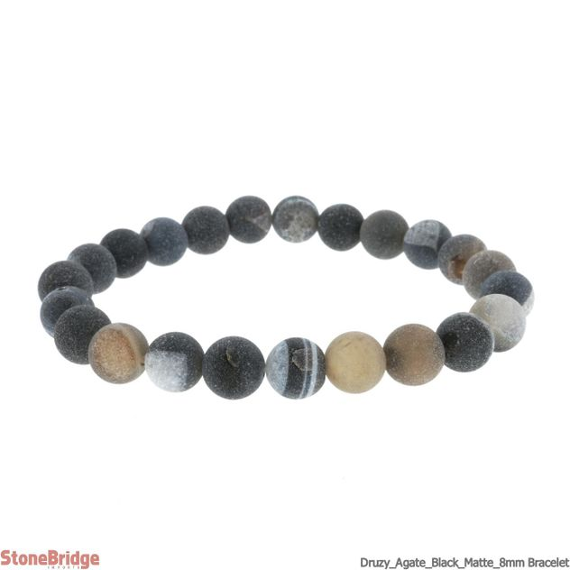 Druzy Agate Black (1) Matte Round Bead Stretch Bracelet - 8mm