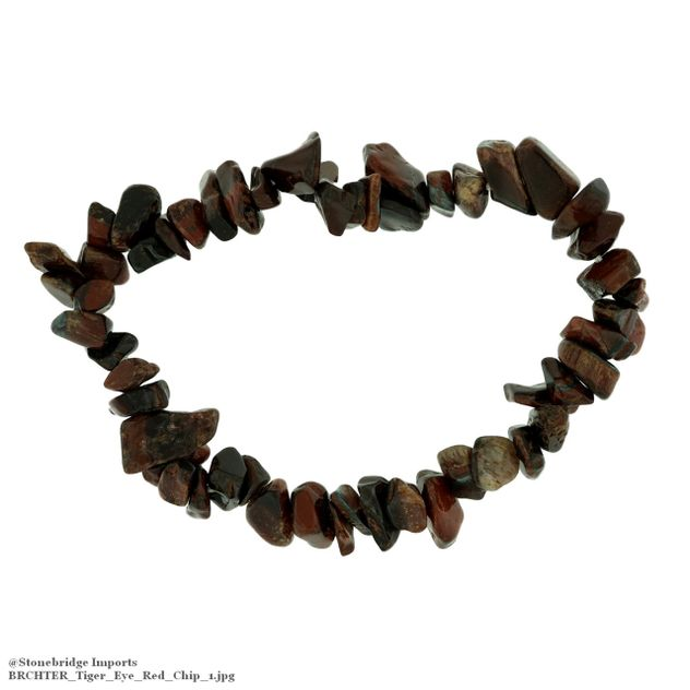 Tiger Eye Red Chip Bead Stretch Bracelet