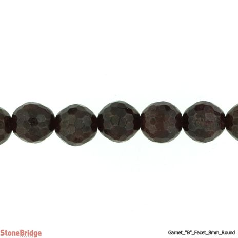 "Garnet B Faceted - Round Bead 15"" strand - 6mm"