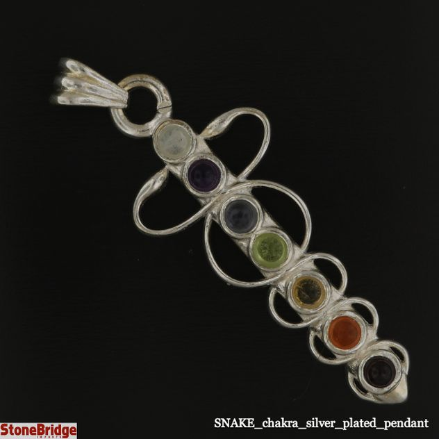 Snake chakra stones silver plated pendant