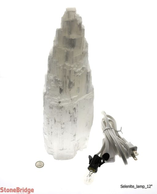 "Selenite White Lamp - 12"" High (NEW LOW PRICE)"